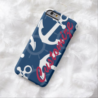 Personalized Nautical Patriotic Anchors Pattern Barely There iPhone 6 Case