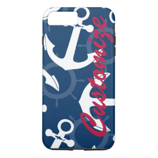 Personalized Nautical Patriotic Anchors Pattern iPhone 7 Plus Case