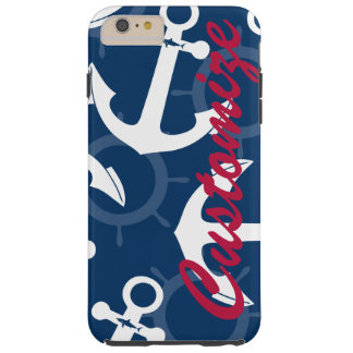 Personalized Nautical Patriotic Anchors Pattern Tough iPhone 6 Plus Case