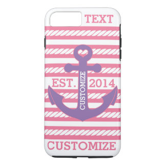 Personalized Nautical Pink Purple Anchor Stripes iPhone 7 Plus Case