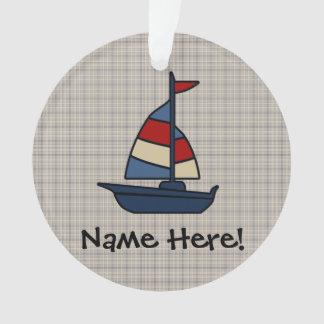 Personalized Nautical Sailboat Blue/Tan Boy's