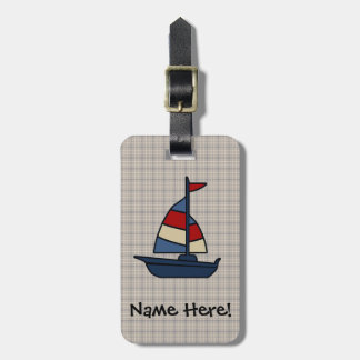 Personalized Nautical Sailboat Blue/Tan Boy's Luggage Tag