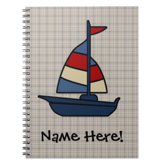 Personalized Nautical Sailboat Blue/Tan Boy's Notebooks
