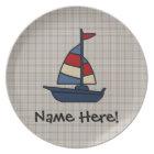 Personalized Nautical Sailboat Blue/Tan Boy's Plate