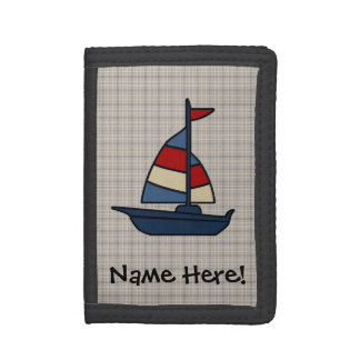 Personalized Nautical Sailboat Blue/Tan Boy's Tri-fold Wallet
