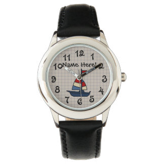 Personalized Nautical Sailboat Blue/Tan Boy's Wristwatch