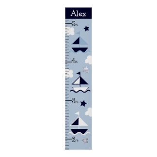 Personalized Nautical Sailboat Growth Chart