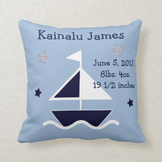 "Personalized ""Nautical/Sailboat"" Keepsake Pillow"