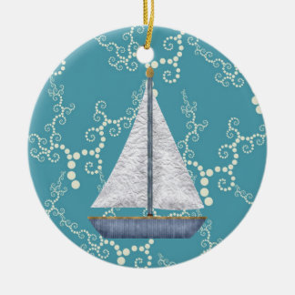 Personalized Nautical Sailboat Swirling Water Ceramic Ornament