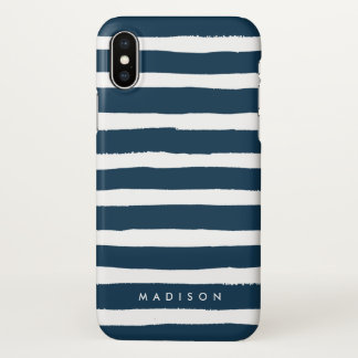 Personalized Navy and White Brushed Stripe iPhone X Case