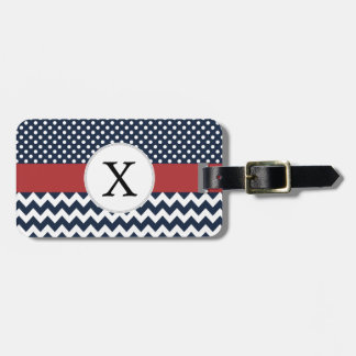Personalized Navy and white nautical pattern Luggage Tag