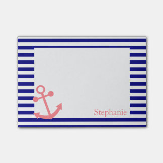 Personalized Navy Blue and Blush Pink Nautical Post-it Notes