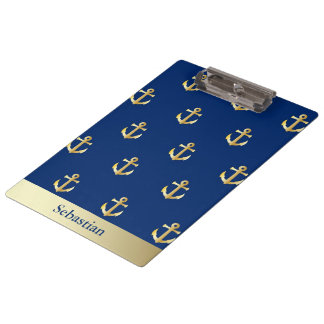 Personalized Navy Blue And Gold Sailing Anchor Clipboard