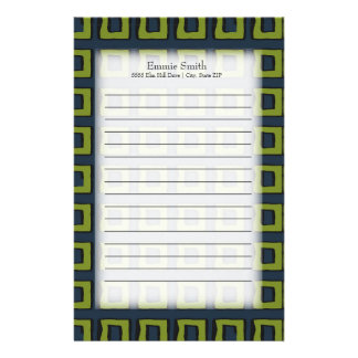 Personalized Navy Blue and Green Abstract Squares Stationery