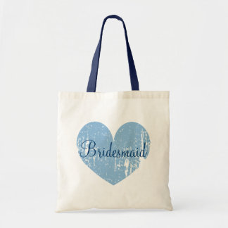 Personalized navy blue heart bridesmaid tote bags