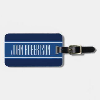 Personalized navy blue luggage tag | elegant style