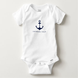 Personalized Navy Blue Nautical Anchor Baby Onesie