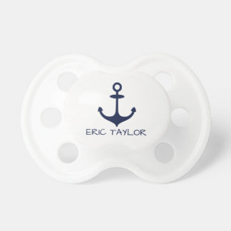 Personalized Navy Blue Nautical Anchor Pacifier