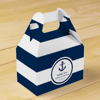 Personalized Navy Blue Nautical Wedding Favor Party Favor Box