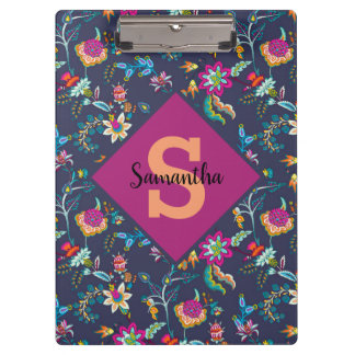 Personalized Navy Blue Purple Gold Floral Monogram Clipboard
