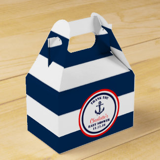 Personalized Navy Blue Red Nautical Baby Shower Wedding Favor Box