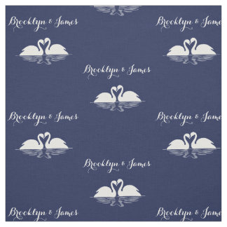 Personalized Navy Blue Wedding Fabric With Swans