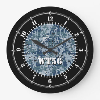 Personalized Navy Digital Camouflage on a Large Clock
