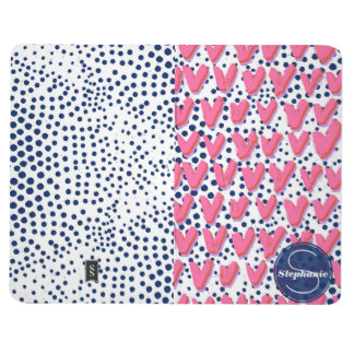 Personalized Navy Dots and Pink Hearts Patterned Journal