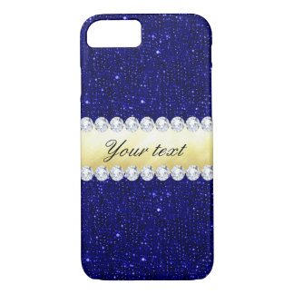 Personalized Navy Sequins, Gold, Diamonds iPhone 8/7 Case
