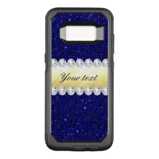 Personalized Navy Sequins, Gold, Diamonds OtterBox Commuter Samsung Galaxy S8 Case