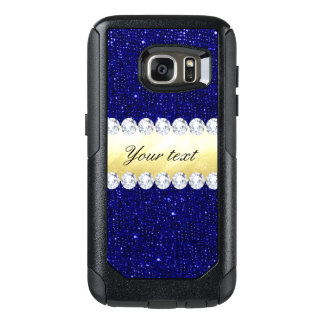 Personalized Navy Sequins, Gold, Diamonds OtterBox Samsung Galaxy S7 Case
