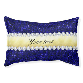 Personalized Navy Sequins, Gold, Diamonds Pet Bed