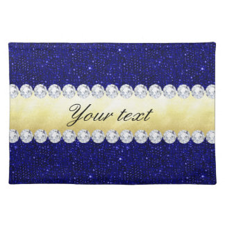 Personalized Navy Sequins, Gold, Diamonds Placemat