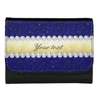 Personalized Navy Sequins, Gold, Diamonds Wallets
