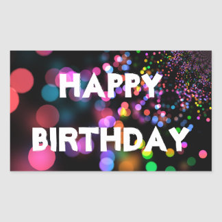 Personalized Neon Colorful Bokeh Happy Birthday Sticker