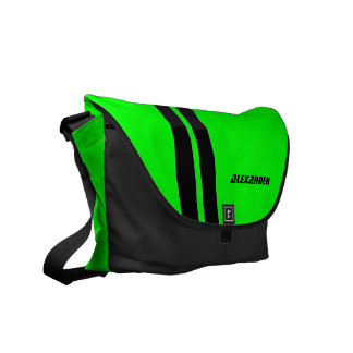 Personalized Neon Green Racing Stripe Messenger Commuter Bag