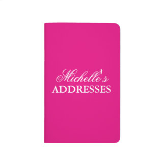 Personalized neon pink solid color address book journal