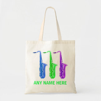 PERSONALIZED neon saxophones!  Add any name/text. Tote Bag