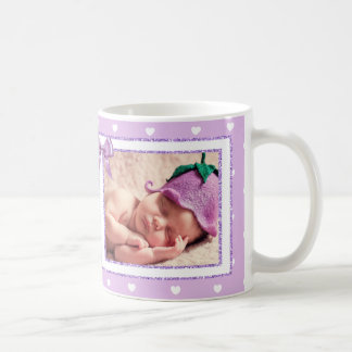 Personalized New Baby Girl Purple Coffee Mug