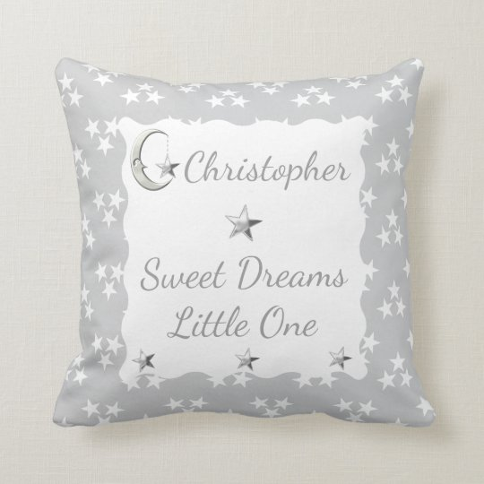 Personalized new baby Grey and white Stars Throw Pillow