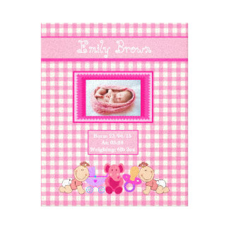 Personalized Newborn Baby Girl Photo Canvas Print