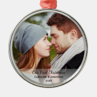 Personalized Newlywed Photo Our First Christmas Silver-Colored Round Ornament