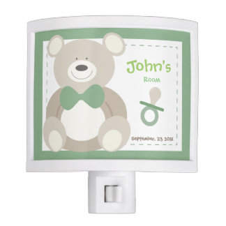 Personalized Night Light Baby Boys Room in Green