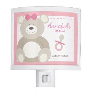 Personalized Night Light Baby Girls Room in Pink