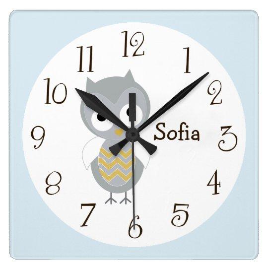 Personalized Night Owl Grey Nursery Clock