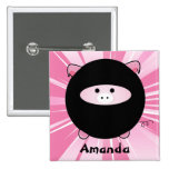 Personalized Ninja Pig on Pink Button