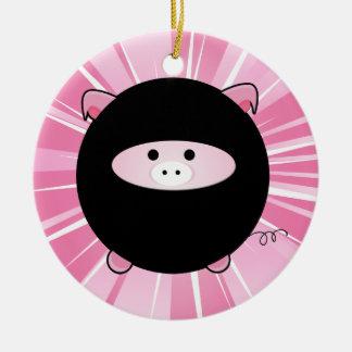 Personalized Ninja Pig on Pink Round Ceramic Ornament