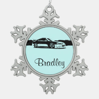 Personalized Nissan Silvia Snowflake Pewter Christmas Ornament