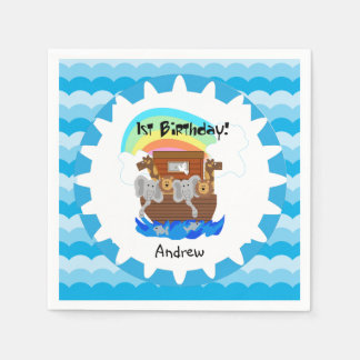 Personalized Noah's Ark 1st Birthday Paper Napkins