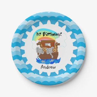 Personalized Noah's Ark 1st Birthday Paper Plates 7 Inch Paper Plate